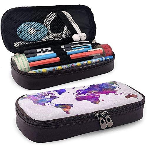 Leather Pencil Case aquarel wereldkaart kantoor studenten briefpapier potlood tas school pennenhouder PU-leer make-up pen tas duurzame dubbele ritssluiting print thee