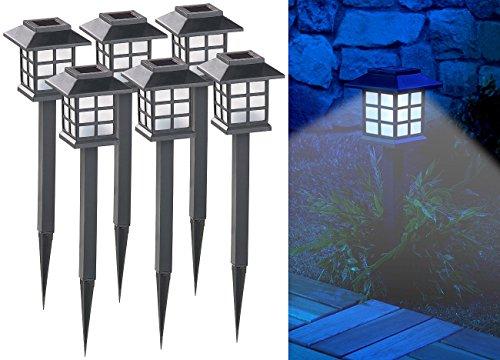 Lunartec Gartenbeleuchtung: 6er-Set Solar-LED-Wegeleuchten Asian mit Lichtsensor, IP44 (Solarlampen Garten)