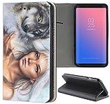 Samsung Galaxy S4 / S4 Neo Hülle Premium Smart Einseitig Flipcover Hülle Samsung S4 / S4 Neo Flip Case Handyhülle Samsung S4 Motiv (1425 Wolf und Frau Animiert Abstract)