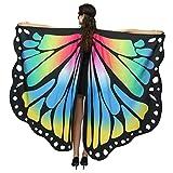 WEXCV Damen Schmetterling Flügel Schal Cape Poncho Schal Wrap Pixie Ladies Karneval Cosplay Fee Faschingkostüme Frauen Kostüm Schmetterlingsflügel Umhang 168x135cm