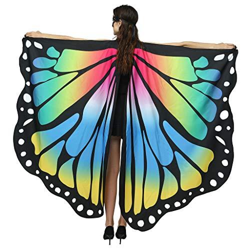 Andouy Damen Schmetterlingsflügel Schal Tuch Poncho Umhang Nymphe Pixie Flügel für Party Weihnachten Cosplay Karneval(168X135CM.Blau-1)