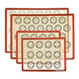 AmazonCommercial - Tapetes de horneado para macarons, silicona, 1 mitad y 1 cuarto