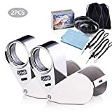 Wanapure 2 Pack 40X Metal Jewelry Loop Magnifier, Jewelers Eye Loupe with LED UV Light, Includes Drawstring Bag and Adjustable Lanyard, Pocket Illuminated Magnifying Glass for Gems, Rock Collection
