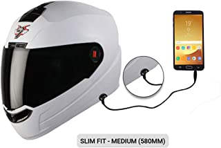 Steelbird SBA-1 7Wings HF Dashing Full Face Helmet with Smoke Visor and Detachable Handsfree Device (Medium 580 MM Slim Fit, White)