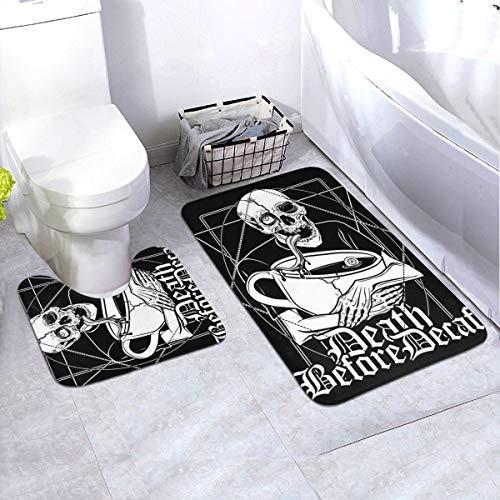 Generieke 2-delige zachte anti-slip badmatset, laatste kop koffie voor de dood inclusief 90 x 60 cm hoog absorberend toiletbril en 50 x 40 cm microvezel zacht pluizig badtapijt, antislip mat wasbaar.