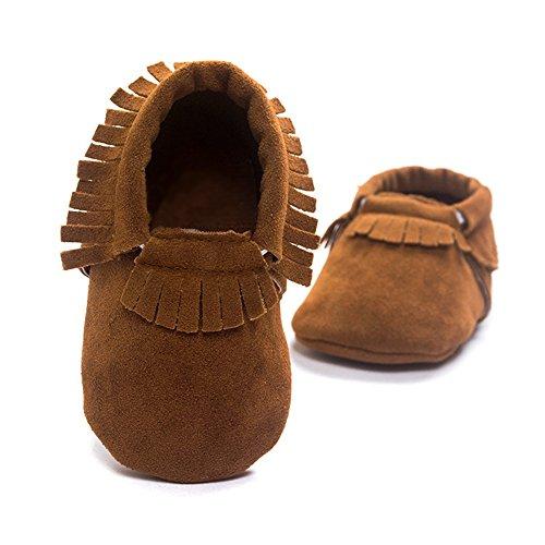 R&V Unisex Infant Baby Boys' Girls' Moccasins Soft Sole Tassels Prewalker Anti-Slip Toddler Shoes (M:6~12 Months, Tan)