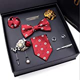 DZHT Men's Formal Business Tie Gifts Box Packing 8 Piece Set Gift a Set with Handkerchief Cufflink For Elder Father or Husband and Boyfriend (Color : D)