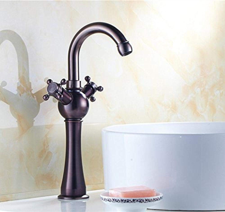Bronze Hohe Drehbare Doppelrad Griff Waschbecken Mischbatterie Kugelwirbel Gebogene Becken Wasserhahn
