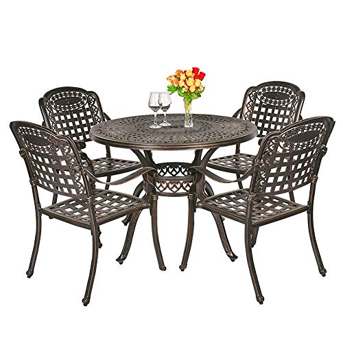 TITIMO 5-Piece Outdoor Furniture Dining Set, All-Weather Cast Aluminum Conversation Set Includes 4 Chairs and 1 Round Table with Umbrella Hole for Patio Garden Deck, Lattice Design