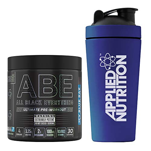 Applied Nutrition Bundle ABE Pre Workout 315g + 750ml Steel Protein Shaker | All Black Everything Preworkout Boosts Energy & Performance with Citrulline, Creatine, Beta Alanine (ICY Blue Raz)
