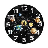 太陽系惑星星と天の川銀河空間 壁掛け時計 置き時計 目覚まし時計 円形 時計 数字 バッテリー 掛け時計 アイデア個性 ファッション インテリア