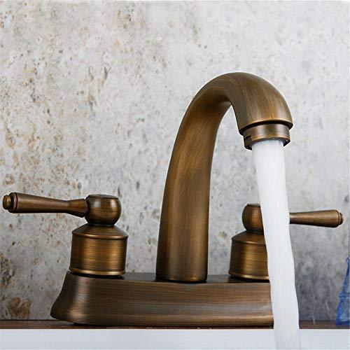 CESULIS Grifo del fregadero mezclador baño cocina lavabo grifo impermeable ahorrar retro tres agujeros baño completo cobre en el baño mural