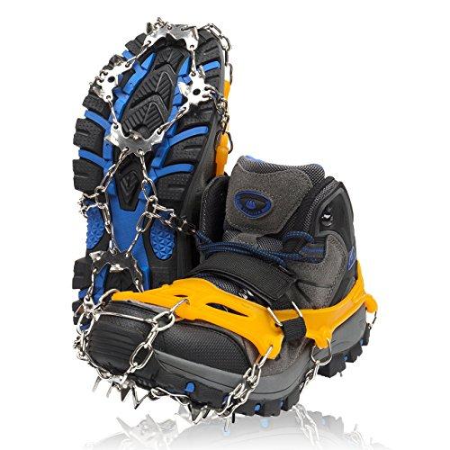 ZAFIELD アイゼン スパイク 19本爪 登山 雪山 トレッキング 簡単装着 収納袋付き 男女兼用 (オレンジ, M)