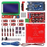 Durable CNC 3D Printer Kit with Mega 2560 Board,RAMPS 1.4,DRV8825,LCD 12864,Heatbed MK2b Fit for Arduino
