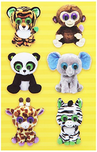 Darice, 12 Piece, Ty Beanie Boos Sticker Set, Jungle Wiggle Eyes