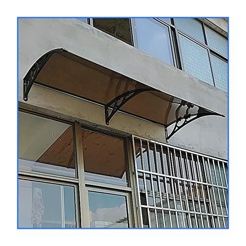GuoWei Marquesina para Puertas Ventanas, Refugio De Techo De Protección Solar De Terraza, Cubierta De Lluvia Y Nieve De Policarbonato, Tamaño Personalizado (Color : Brown, Size : 60x240cm)