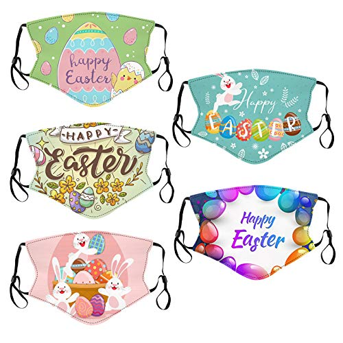 Easter Face Mask for Adults with Filters Washable Reusable Coronɑvịrus Protectịon Rabbit Bunny Easter Eggs Mask (5pc F)