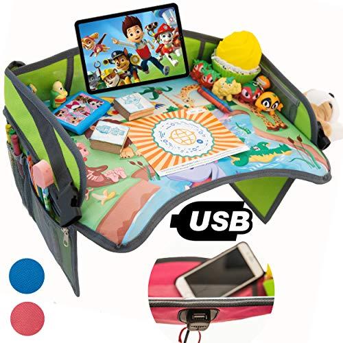 TavolinoGioco1+ da Viaggio Auto per Bambini 2.0 con porta USB x Tablet,Smartphone Tavolino Sedile Vassoio Gioco Portatile per Disegnare,Intrattenere bimbi in Aereo,Treno,Passeggino,Seggiolino(Verde)