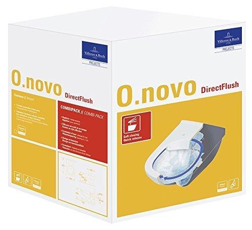 Villeroy & Boch Wand-WC O.Novo mit Sitz, Directflush und ohne Spülrand, 1 Stück, 5660HR01 - 4