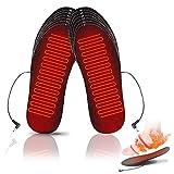 YYchan Beheizbare Einlegesohlen USB Wärmesohlen Heated Insoles Damen und Herren Waschbar Fußwärmer Sohlen Sohlenwärmer Fusswärmer Einlagen mit USB,Größe Zuschneidbar (Schwarz-M (35-40))