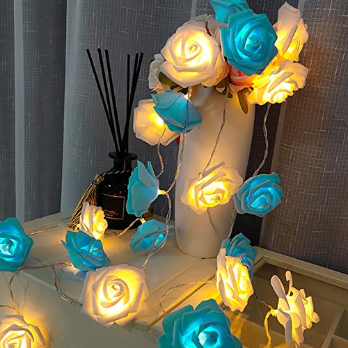 HOTLIKE Led String Lights, 3M 20 LED with 2 Modes Rose Lights, Indoor Outdoor Decorations, Battery Operated Holiday Lights, Romantic Line Lights, Fairy Lights for Bedroom Garden Wedding (Blue-White)
