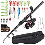KKmoon-1 Fishing Rod and Reel Combo Carbon Fiber Telescopic Fishing Rod with Spinning Reel Combo Carrier Bag Case Saltwater Freshwater Travel Fishing Lures Jig Hooks Swivels Full Kit