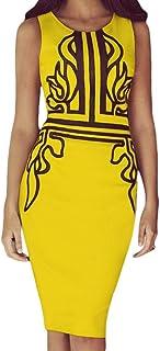 COMVIP Women's Retro Sleeveless Printed Bodycon Slim Pencil Midi Dress