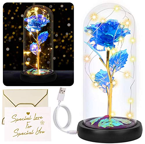 Yodeace Rosa Eterna, Flor Azul Artificial con Batería USB Eternal Rose En Cúpula de Cristal con Luz LED Tarjeta de Felicitación para San Valentín Cumpleaños Boda Aniversario Regalo Decoración