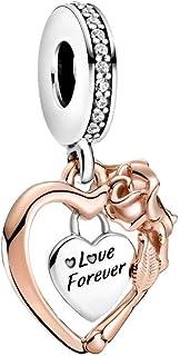 PANDORA Heart & Rose Flower Dangle Charm