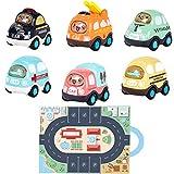 YUWEX Zurückziehen Spielzeugautos 6 Autos Schulbus Feuerwehrauto Polizeiauto Krankenwagen Taxi mit Licht und Musik Spielzeugauto für Jungen Mädchen Kinder