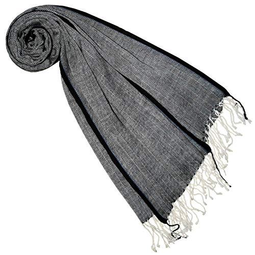 Lorenzo Cana Lorenzo Cana Luxus Pashmina Damen Schal Grau Schaltuch 50% Kaschmir 50% Wolle vom Merinolamm Wolle Kaschmirschal Gewebter Damenschal Frauenschal 7847477
