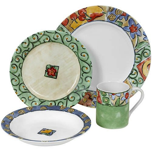 Corelle Impressions 16-Piece Dinnerware Set, Service for 4, Watercolors