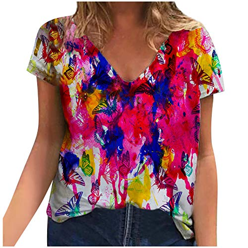 MEITING Sommer T-Shirt Damen Bluse Kurzarm Oberteile Sweatshirts Mit Blumen Drucken Kurzarm Pullover Teenager Mädchen Crop TopRundhals Top Mode Casual Shirt Tunika Hemd Locker Alltag Sport Shirts