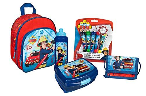 Mochila infantil de Sam el bombero, para niños y niñas, set de 5 piezas, con mochila, fiambrera, cartera, monedero y sello en diseño de Sam Fireman