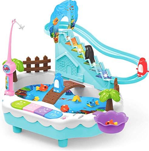 zhangcheng Rompecabezas eléctrico de Juguete para niños pingüino Sube Las escaleras. Juguetes de Pesca interactivos para Padres e Hijos, Hijo y su Querido