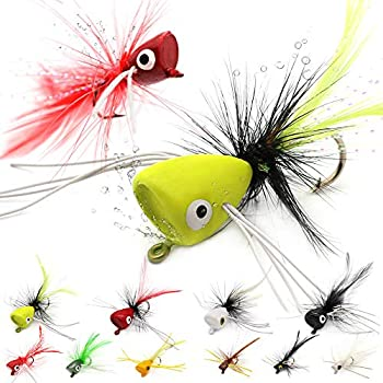 Fly Fishing Poppers Lures for Bass Panfish Flies Topwater Popper for Crappie Bluegill Kit  3 Kinds of Size Popper Flies Kit 24 pk with Fly Box