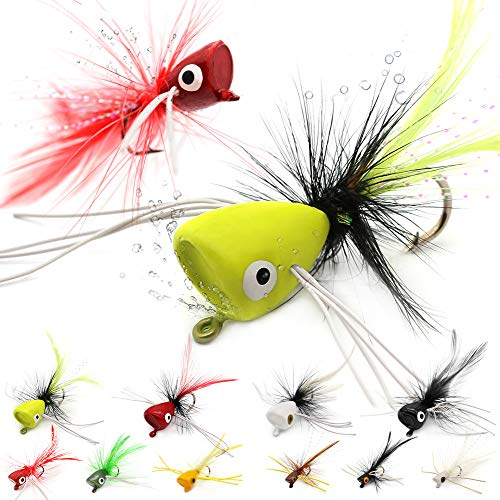 Fly Fishing Poppers Lures for Bass Panfish Flies Topwater Popper for Crappie Bluegill Kit (3 Kinds of Size Popper Flies Kit 24 pk with Fly Box)
