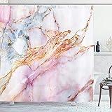 Ambsunny Pink Marmor Duschvorhang Pink Granit Stein Oberfläche Risse Linien Goldene Streifen Badezimmer Dekor Set mit 12 Haken 152,4 x 180,9 cm, bunt