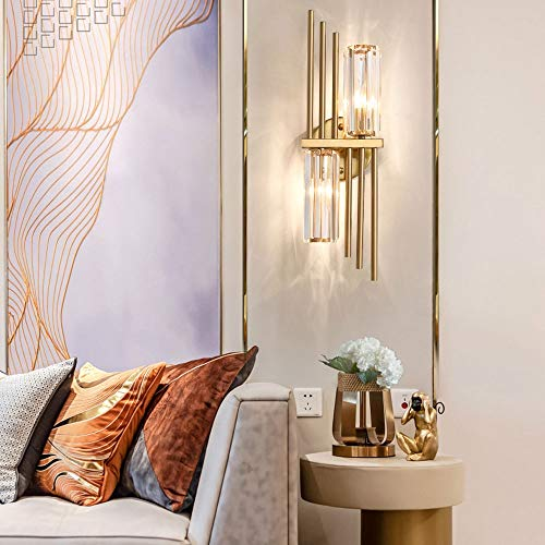 2-Lights Crystal Wall Sconces Lighting, Modern Bedroom Decor Wall Lamp, Bedside Hallway Living Room LED Wall Lantern, European Luxurious Wall Lights, for Bedside Aisle Corridor Decor