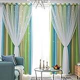 Cortinas opacas de salvia degradado para niños sala de estar o recámara doble capa paneles de ventana ombre habitación oscurecimiento cortinas para adolescentes decoración de habitación 52 x 63...