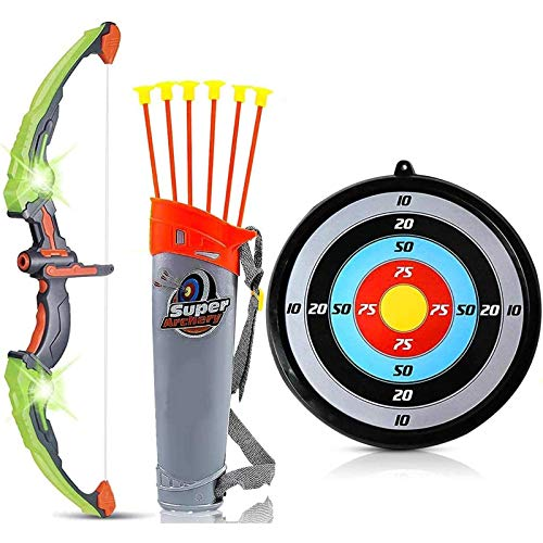 Liberty Imports Light Up Archery Bow and Arrow Toy Set for Kids with 6 Suction Cup Arrows, Target, and Quiver (Green)