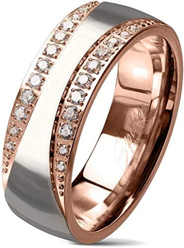 viva-adorno® Damen Ring Verlobungsring Edelstahl zweifarbig Rosegold Silber mit 2 Zirkonia Bändern RS60, Gr. 58