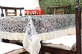 "Live Factory 3D PVC Table Cover with Golden Lace - 4 Seater Center Table, Transparent (Gold, 60"" X 40"") Exact Size"