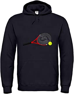 Druckerlebnis24 Sudadera con capucha, raqueta de tenis, pelota de tenis, pelota de tenis, sudadera con capucha, unisex, pa...