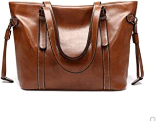 Leather bags, shoulder bags, large-capacity tote bags, cowhide bags, leather handbags, handbags, shoulder bags, ladies bags, large-capacity storage bags (Color : Brown, Size : One size)
