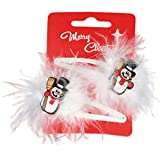 Pair of Christmas Novelty Snowman and Feathers Hair Clips Snap Bendies Sleepies