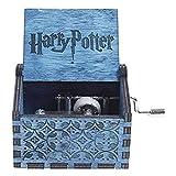 Caja de música de madera tallada con manivela de mano y madera hecha a mano, melodía agradable, cumpleaños, Navidad, Año Nuevo para niños (tema Harry Potter, Bule A05)