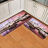 Juego de alfombrillas de cocina de 2 piezas,Navidad Francia Septiembre Castillo construid, Alfombra antideslizante con respaldo para alfombra de cocina, lavable y duradera, alfombra de corredor