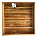 """OLYUS Ottoman Serving Tray with Handles – Large 18"""" Square Wooden Tray for Coffee Table, Home Décor Accessories, Dinner Parties and More. Made from Sustainable Acacia Wood"""