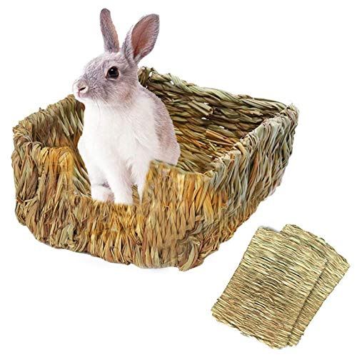 Tfwadmx Rabbit Grass Bed, Bunny Hay Mat Pet Bedding Chew Toys Natural Woven Grass House for Bunny Hamster Chinchillas Guinea Pigs Ferret Gerbil Rat and Small Animals (3 Pcs)